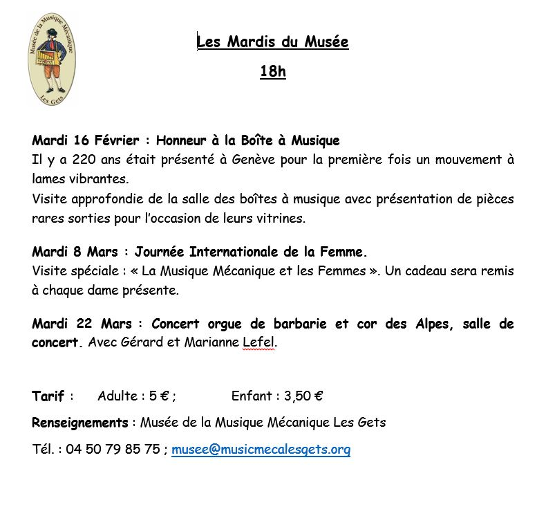 Programme des Mardis du Musee des Gets du 16 Fevrier au 22 Mars 2016