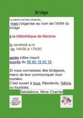 Invitation aux bridgeurs de la part de l'Association des Résidents de Morzine